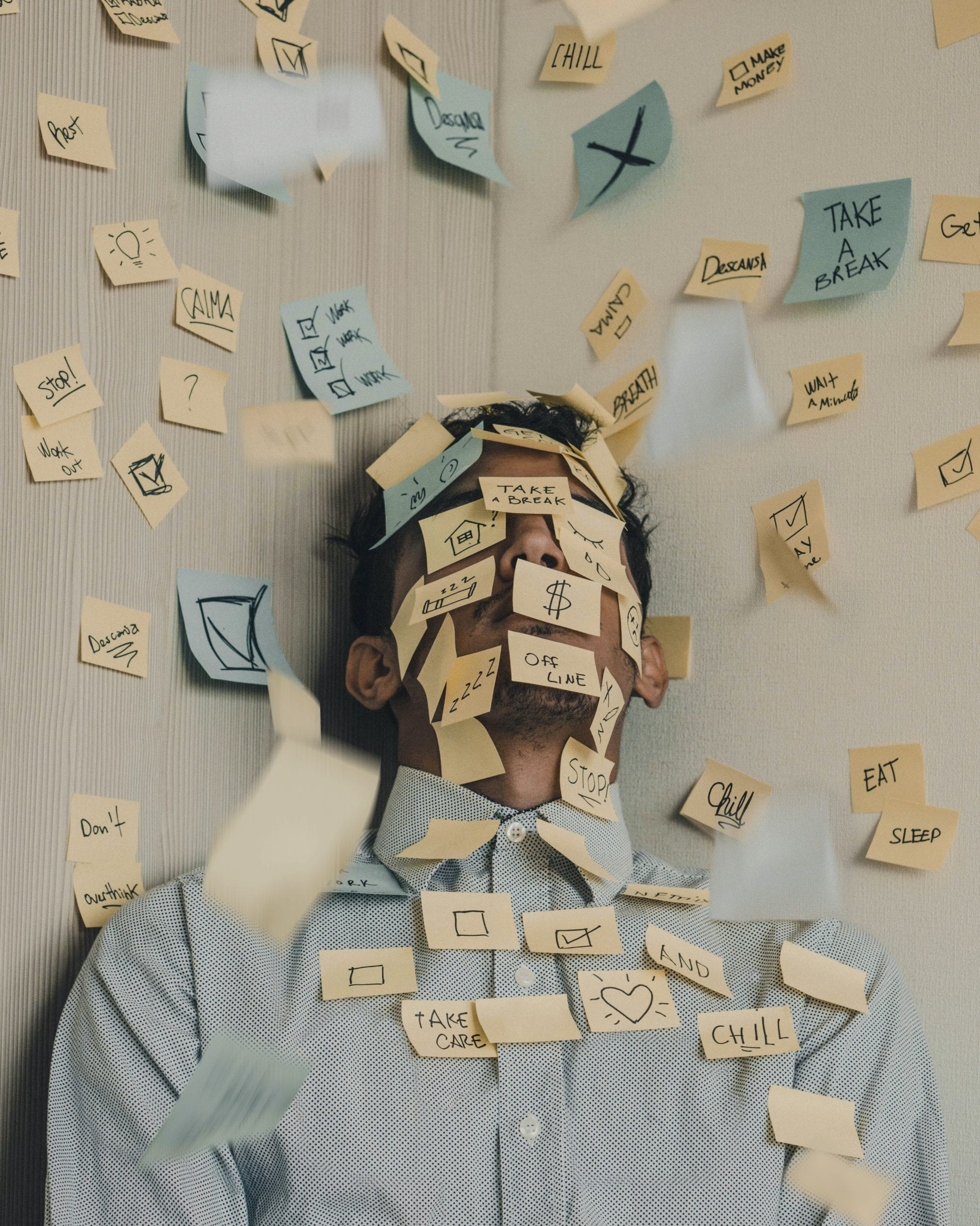 man-covered-in-sticky-notes-depression-stress-anxiety-scale-alive-counselling-kelowna-therapy